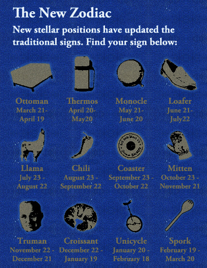 Another shot at rewriting the Zodiac signs.