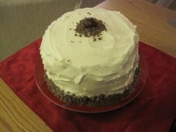 Home made chocolate hazelnut cake with cream cheese frosting and chocolate ganache filling-mmmmm