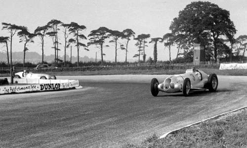 1937 Donington Gp. Manfred Von Brauchitsch in front of Rudolf Caracciola