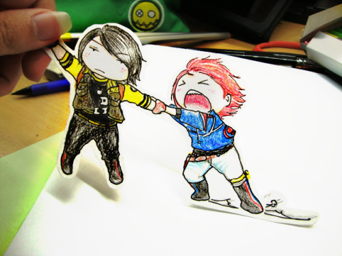 flyingcat-pysna:  I tried to take Fun Ghoul out of the paper but Party Poison didn't let me do that. He wanted to keep Fun Ghoul for himself. Mean!