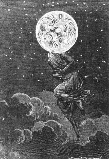 "Une colique lunaire An illustration from Jules Verne's novel ""Around the Moon"" drawn by Émile-Antoine Bayard and Alphonse de Neuville,engraving by Henri Hildibrand,1872  [see also and more at OBI]"