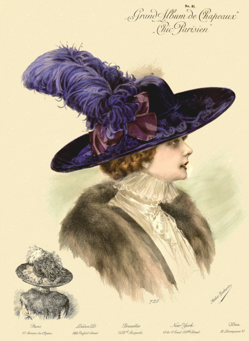 1911 Paris millinery catalog chromolithograph, #720
