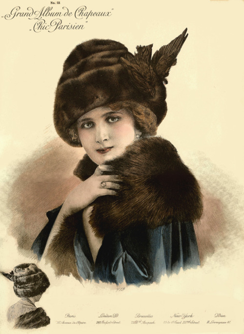1911 Paris millinery catalog chromolithograph, #719