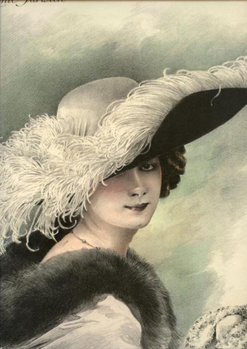 1911 Paris millinery catalog chromolithograph, #709