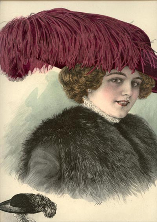 1911 Paris millinery catalog chromolithograph, #716