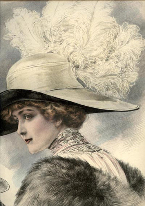 1911 Paris millinery catalog chromolithograph, #623