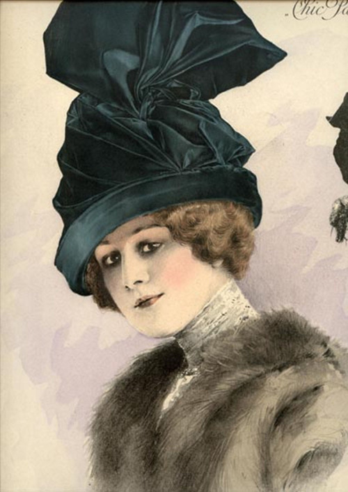 1911 Paris millinery catalog chromolithograph, #606