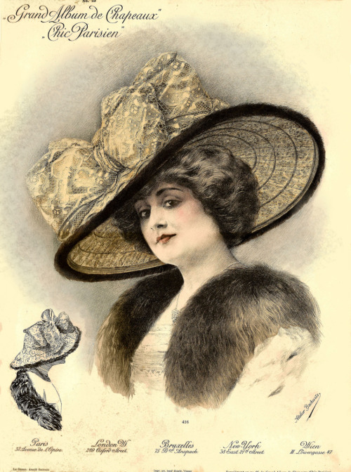 1911 Paris millinery catalog chromolithograph, #416