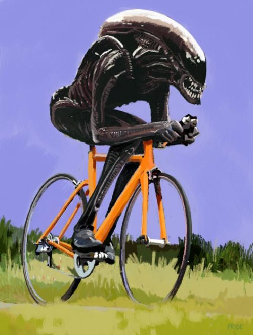 aliensandpredators:  I get it, because of those professional cycling helmets with the long tapered back ends for streamlining  Yes.