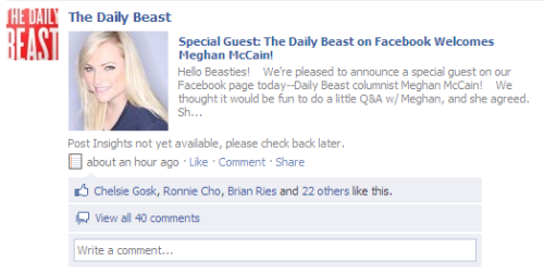 Look what's happening on our Facebook page today! Want to ask Meghan a question? Head over to Facebook, fan us if you haven't, and ask away.