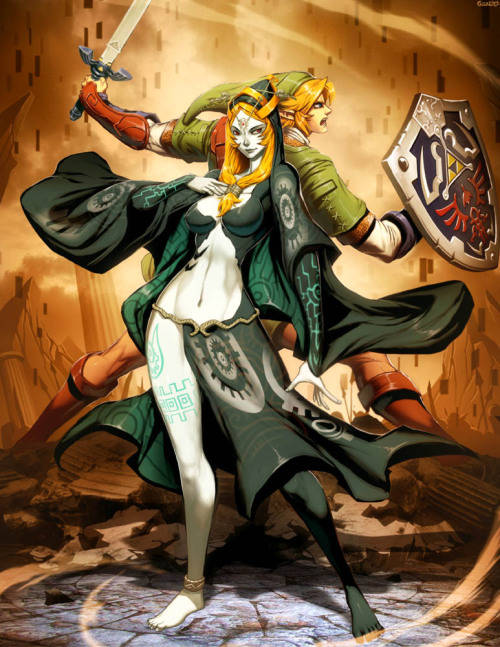 Zelda - Midna and Link by *GENZOMAN