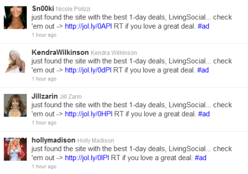 "a little screencap of my twitter feed.. congrats LivingSocial. you just guaranteed i will never ever use your services. ""ok random reality celebs. make sure you tweet this exact, disingenuous (and grammatically flawed) sentence at 2:48 PM EST."""