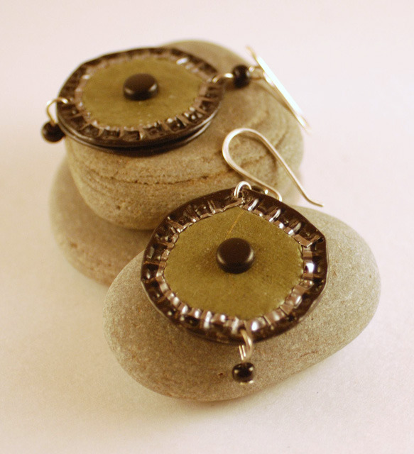 Alehouse Chique  Upcycled Bottle Cap Earrings by editions on @Etsy beer caps dressed up as earrings