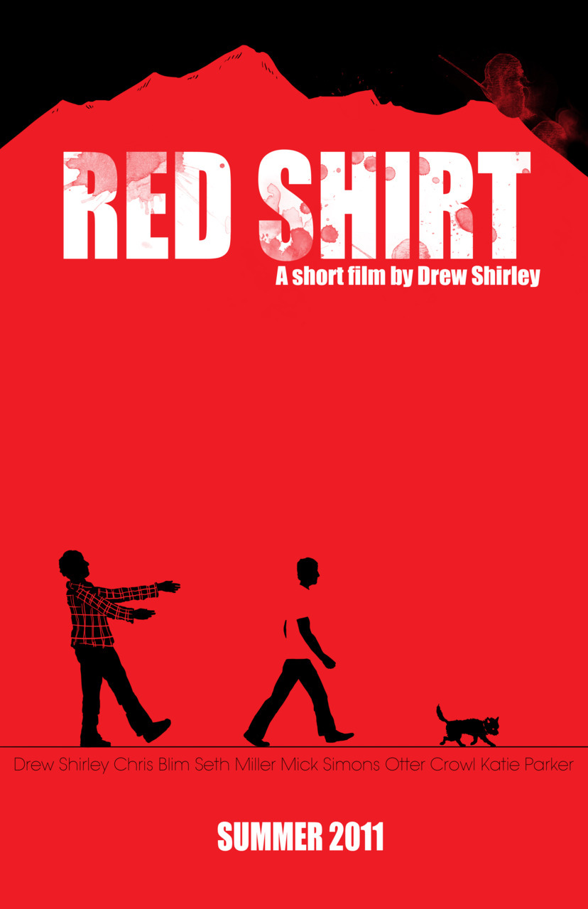 "Poster Art for upcoming short film ""Red Shirt"" by Drew Shirley. Original art and writing © Jasey M. Crowl 2011 visit: jaseycrowlcomics.com"