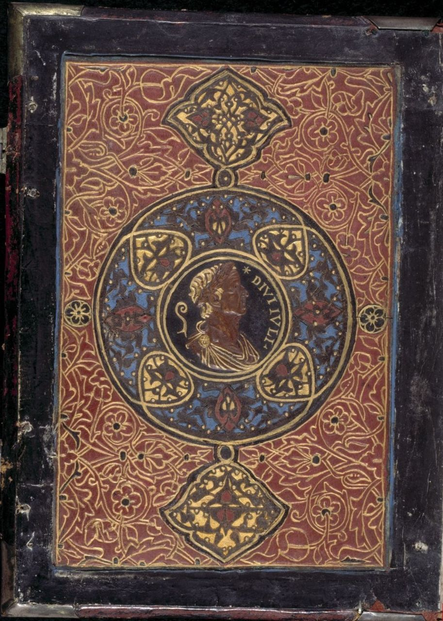 Front inner cover Book of Hours, Use of Rome (the 'Hours of Bonaparte Ghislieri', formerly known as 'The Albani Hours') Origin Italy, N. (Bologna) 					 				 					 						Date c. 1500 					 				 					 						Language Latin				 					 				 					 						Script Humanistic Scribe Pierantonio Sallando 					 				 					 						Artists f. 15v signed by Amico Aspertini 'Amicus Bononiensis' (b. 1464, d. 1552).  1    miniature (formerly f. 132, now kept seperately as Yates Thompson 29,    f. 132) signed by Pietro de Cristoforo Vannucci, known as Perugino  (b.   c. 1450, d. c. 1523). f. 74v, all historiated initials and the calendar roundels attributed to Matteo da Milano (documented 1504-1512). http://www.bl.uk/catalogues/illuminatedmanuscripts/results.asp