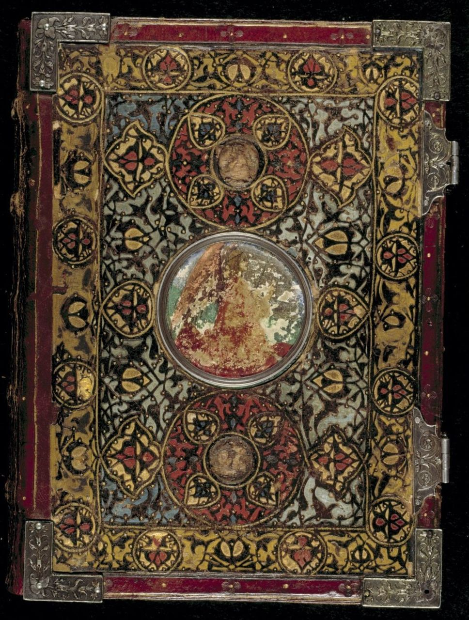 Front cover of the binding.  			 		 			 				 Italy, N. (Bologna)  Book of Hours, Use of Rome (the 'Hours of Bonaparte Ghislieri', formerly known as 'The Albani Hours') Origin Italy, N. (Bologna) 					 				 					 						Date c. 1500 					 				 					 						Language Latin				 					 				 					 						Script Humanistic Scribe Pierantonio Sallando 					 				 					 						Artists f. 15v signed by Amico Aspertini 'Amicus Bononiensis' (b. 1464, d. 1552).  1   miniature (formerly f. 132, now kept seperately as Yates Thompson 29,   f. 132) signed by Pietro de Cristoforo Vannucci, known as Perugino (b.   c. 1450, d. c. 1523). f. 74v, all historiated initials and the calendar roundels attributed to Matteo da Milano (documented 1504-1512).F. 15 attributed to Mariano del Buono (see Gazelli 1985) http://www.bl.uk/catalogues/illuminatedmanuscripts/ILLUMIN.ASP?Size=mid&IllID=31882