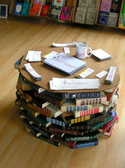 "twilightdew: ""We used a table made of books at the Kurt Vonnegut Memorial Library in Indianapolis."" -CoreyMDalton Image Credit: CoreyMDalton"