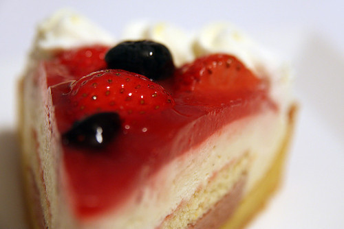 cake slice with berries & cream!