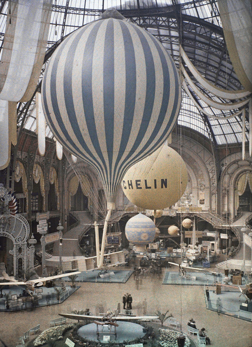 ckck:  The first air show at the Grand Palais in Paris, France. September 30th, 1909. Photographed in Autochrome Lumière by Léon Gimpel.