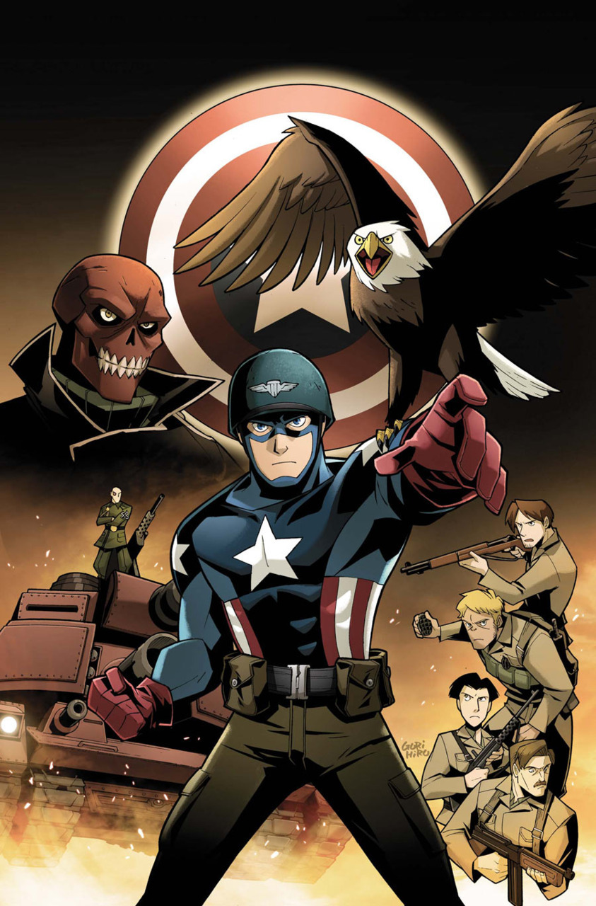 CAPTAIN AMERICA: THE FIGHTING AVENGER #1Written by BRIAN CLEVINGERPencils by GURIHIRUCovers by GURIHIRU & BARRY KITSONCaptain America's Day One!He's got the strength. He's got the training. But has he got what it takes? A ragtag Special Forces unit takes Captain America on his first mission of World War II. Their orders? Don't get him killed! But when the low-profile assignment draws the attention of Baron Strucker, the future Red Skull and half the Nazi army, it'll be a crash course in super heroics for Marvel's first Avenger!48 PGS. /One-Shot/Rated A …$3.99 This was supposed to be a companion series to Thor: The Mighty Avenger, but now that the best Thor book ever published has been cancelled this series has been downgraded to a One-Shot. Siiiigh.