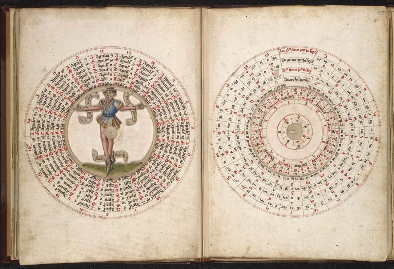 Sloane 702  Astronomical and medical miscellany, including a volvelle and tables of the mansions of the moon England; c. 1482 Astronomical moveable diagrams, on the left with a pointing standing man in the centre.  			 		 			 				Origin: England