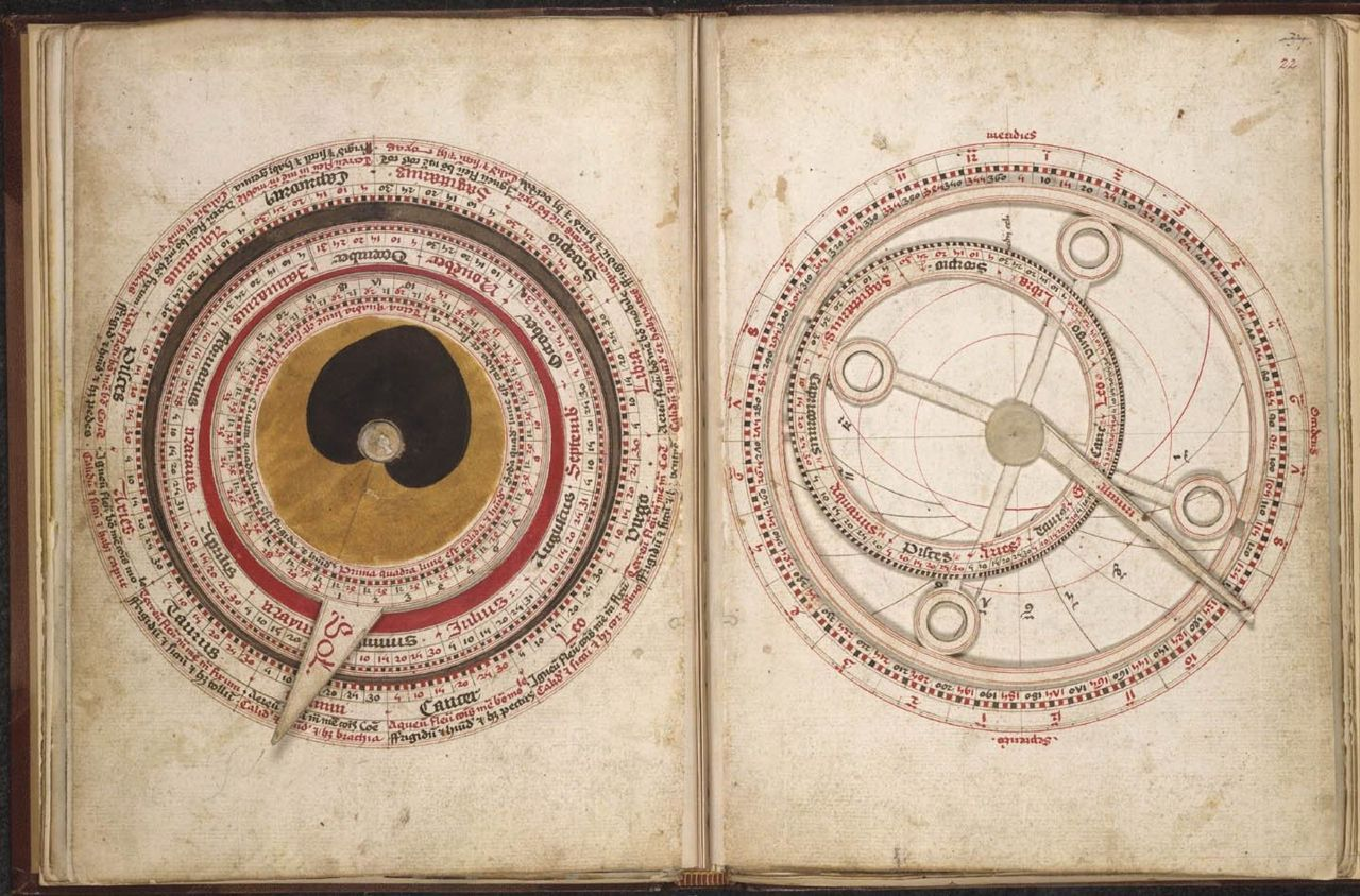 Sloane 702  Astronomical and medical miscellany, including a volvelle and tables of the mansions of the moon England; c. 1482 A volvelle, a device with a moveable  disc rotating with a fixed matrix, with a  pointing moveable index of  the sun (here painted yellow to represent the sun) which could be set at  the sign and degree of the zodiac for a particular day in order to  predict the best time to provide medical treatment.  The names of the  months are on the inside ring, with degrees and corresponding zodiac  names below, on the left.  On the right is an astronomical moveable  diagram.  			 		 			 				Origin: England