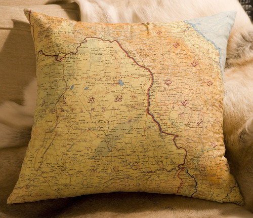 New Atelier 688 silk aviator map cushion (Siam) * Sold