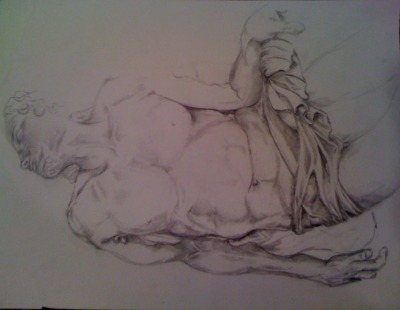 sketch of La Pieta, Michelangelo