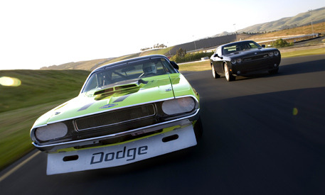 The 2008 Dodge Challenger SRT8 meets the 1970 Trans-Am car.