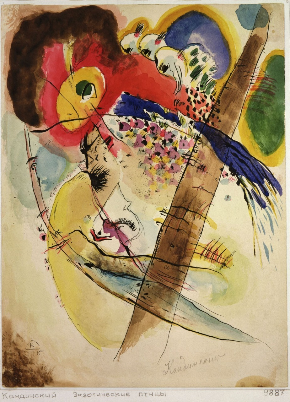 "amare-habeo:  Wassily Kandinsky - Exotic Birds, 1915 ""The more frightening the world becomes … the more art becomes abstract."" _ Wassily Kandinsky"