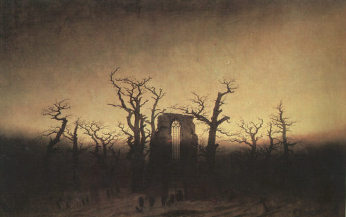 you-need-satan:  Caspar David Friedrich  The Abbey in the Oakwood 1809-1810
