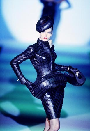 "The ""Tire"" suit for the 1997 S/S Haute Couture Collection…"