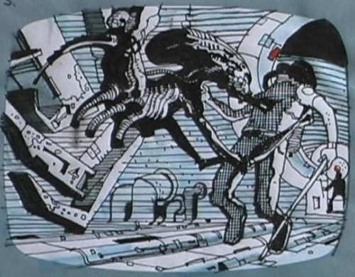 "An early ""Alien"" storyboard depicting Brett's capture. It is interesting to note that the alien looks to not be completely grown, yet."