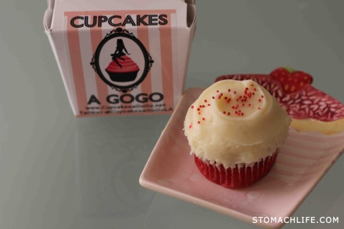 FOOD TRUCK:  Cupcakes A GoGo; Downtown, Los Angeles Red Velvet Cupcake on the go, w/cream cheese icing $3.00 (Thanks to Matty for sampling us this Cupcake) Future Locations: Twitter @CupcakesaGoGoLA Click to follow: @StomachLife