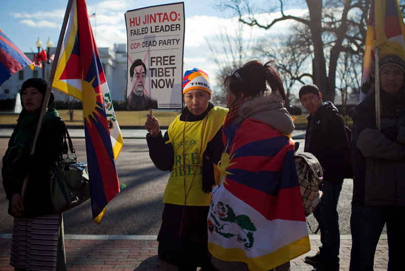 Protesters in front of the White House during Chinese President Hu Jintao's state visit.