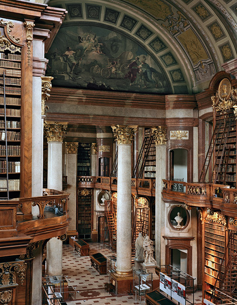book-of-flights:  I think this is the Hofbibliothek, Hofburg Palace, Vienna (Austrian National Library.) I have been there and it is hypnotizing.