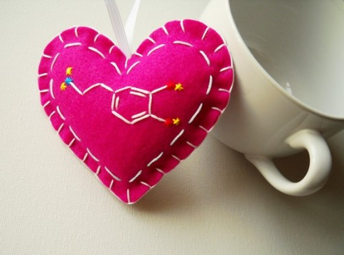 Pleasure Molecule Heart Felt Ornament in Raspberry by whatnomints via craftgawker.