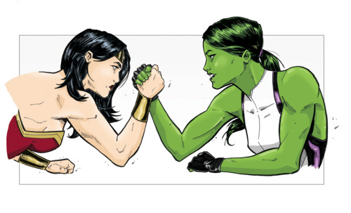 thehappysorceress:  Wonder Woman & She-Hulk, Over the Top; by Adam Limbert