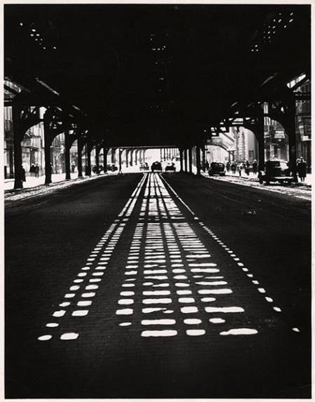 """But there is beauty along this street of forgotten men…"" -Weegee Weegee, taken at the intersection of Bowery and Broome, facing downtown, NYC, 1945 Thank you, aperfectcommotion"
