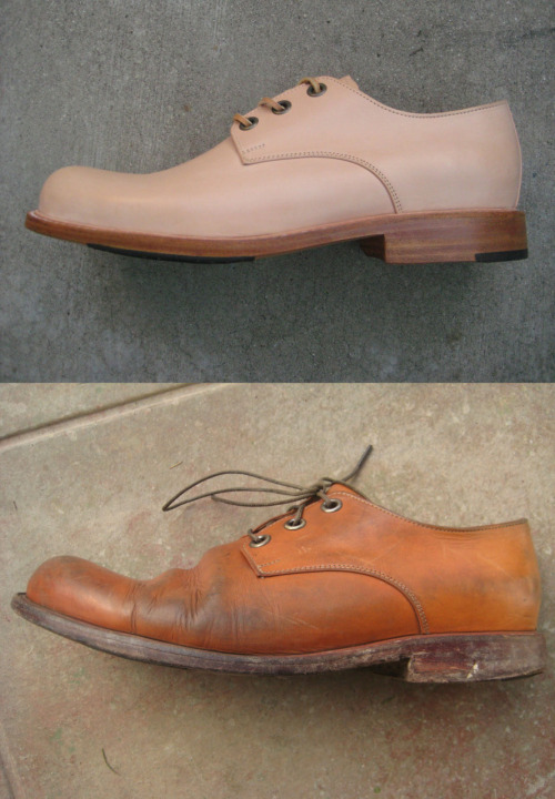 Before and after of raw leather Esquivel shoes