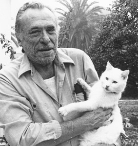 "I don't like Bukowski, but man I love cats. maudnewton:  Is this cat Charles Bukowski is holding the ""white cross-eyed tailless"" tom he memorialized in ""The History Of One Tough Motherfucker""?  ....I took what was left to a vet who said, ""not muchchance... give him these pills... his backboneis crushed, but it was crushed before and somehowmended, if he lives he'll never walk, look atthese x-rays, he's been shot, look here, the pelletsare still there... also, he once had a tail, somebodycut it off..."" I took the cat back, it was a hot summer, one of thehottest in decades, I put him on the bathroom floor, gave him water and pills, he wouldn't eat, hewouldn't touch the water, I dipped my finger into itand wet his mouth and I talked to him, I didn't go any-where, I put in a lot of bathroom time and talked to him and gently touched him and he looked back atme with those pale blue crossed eyes and as the days wentby he made his first movedragging himself forward by his front legs(the rear ones wouldn't work)he made it to the litter boxcrawled over and in,it was like the trumpet of possible victoryblowing in that bathroom and into the city, Irelated to that cat-I'd had it bad, not thatbad but bad enough one morning he got up, stood up, fell back down andjust looked at me. ""you can make it,"" I said to him. he kept trying, getting up falling down, finallyhe walked a few steps, he was like a drunk, therear legs just didn't want to do it and he fell again, rested,then got up....  I also like this shot of Bukowski and (the same?) white cat. (via henrycharlesbukowski.)"