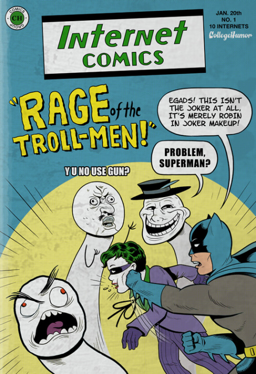 "blogwell:  collegehumor:  Batman Vs.The Internet - Don't feed the trolls, punch them.   Kevin and I explore the Ultimate ""What If"" scenario. Also, many thanks to the Daily DCU's Weekend WTF for directly inspiring the look and feel of these pieces.   My favorite article in months. Read it."