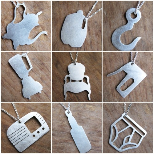 bookspaperscissors:  Teapot, Milk Jug, Hook, Blender, Chair, Staple Gun, Radio, Beer Bottle and Underpants necklaces from ballandchain  What, no Apple logo? SON, I AM DISAPPOINT.