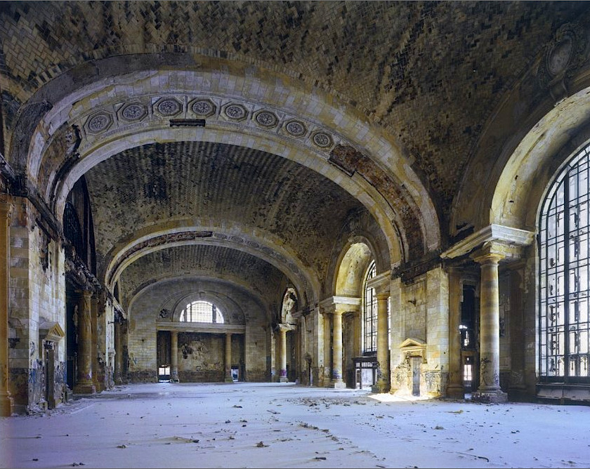 The waiting room of Detroit's once-grand train depot, Michigan Central Station, long after the last train rolled out in 1988. Until the mid-20th century, Detroit was the most significant industrial town in the world, and Albert Kahn was its architect. The son of German immigrants built factories and sky scrapers like they were coming off a conveyor belt. And then, just as quickly as his city grew, it was abandoned. The old white-haired man was awarded the medal for outstanding service during wartime and TIME magazine praised him enthusiastically: Albert Kahn's contribution to the defeat of enemy powers is greater that that of most others, a journalist wrote in 1942. But the 73-year-old man had never seen the front line during the World War II. He fought, so to speak, from his desk in an office in Detroit. Spiegel: Albert Khan and the Decline of Detroit