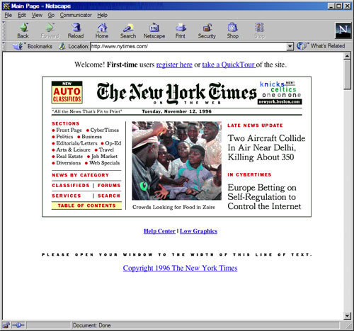 donohoe:  The New York Times Introduces a Web SiteBy PETER H. LEWISPublished: January 22, 1996 The New York Times begins publishing daily on the World Wide Web today, offering readers around the world immediate access to most of the daily newspaper's contents. The New York Times on the Web, as the electronic publication is known, contains most of the news and feature articles from the current day's printed newspaper, classified advertising, reporting that does not appear in the newspaper, and interactive features including the newspaper's crossword puzzle. The electronic newspaper (address: http:/www.nytimes.com) is part of a strategy to extend the readership of The Times and to create opportunities for the company in the electronic media industry, said Martin Nisenholtz, president of The New York Times Electronic Media Company. The company, formed in 1995 to develop products for the rapidly growing field of digital publishing, is a wholly owned subsidiary of The New York Times Company, and also produces the times service on America Online Inc. Mr. Nisenholtz reports to Russell T. Lewis, the president and general manager of The New York Times, and to Joseph Lelyveld, the newspaper's executive editor.