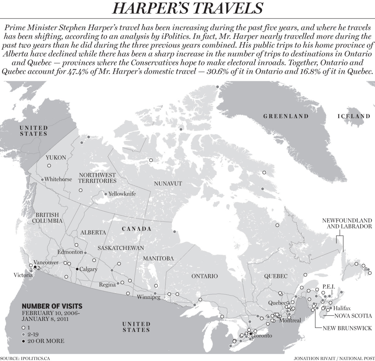 Harper's Odyssey: A look at Prime Minister Stephen Harper's travel over the past five yearsRelated: Harper's first five years of governanceCheck out our full visual archive.