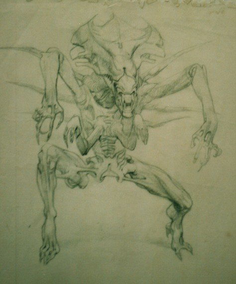Alien queen concept drawing by James Cameron