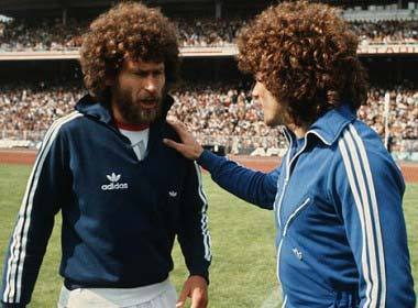 "footballandmusic:  BEARD No.1: Paul Breitner (seen here with Kurly Keegan)  ""Your hair is magnificent."" ""I was about to tell you the same thing."" ""Let's make a sitcom about our hair/friendship!"" ""It's like you're reading my mind!"""