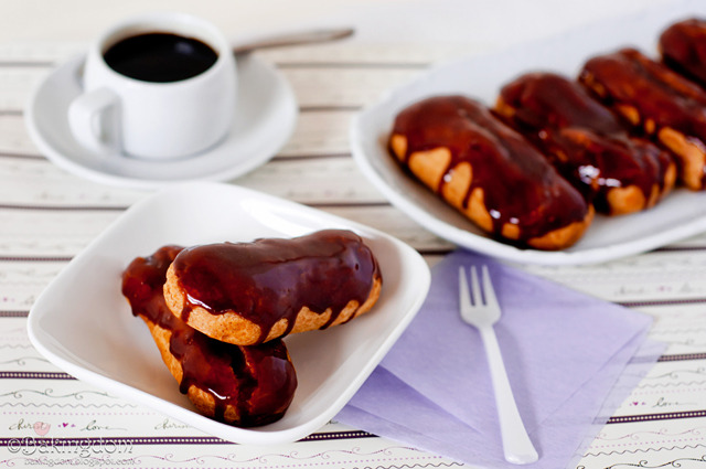 Spiced Eclairs with Cinnamon Cream and Chocolate Glaze