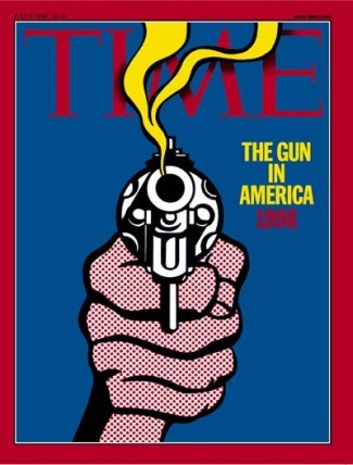 "The art: Roy Lichtenstein, The Gun in America (cover illustration for Time), 1968. The news: ""Myth of the Hero Gunslinger,"" by Timothy Egan in the New York Times. The source: The images is from the Time magazine cover archive. The Lichtenstein was used on two Time covers: June 21, 1968 and July 6, 1998. For more information on Lichtenstein's drawings and lithograph, click here."